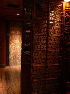 Ladies' restroom and tile divider at Trader Vic's in Dallas
