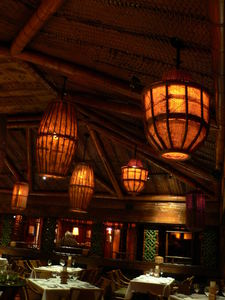 Lighting in the main dining room at Trader Vic's in Dallas