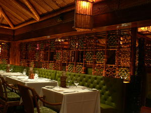Tile screen wrapping around the main dining room at Trader Vic's in Dallas