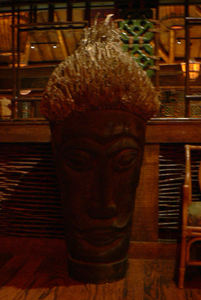 Rootball tiki in the entry area at Trader Vic's in Dallas
