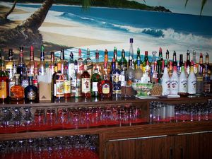 Behind the bar at Tiki Port in Hyannis