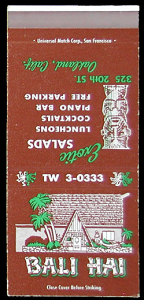 Cover of a matchbook from Bali Hai in Oakland