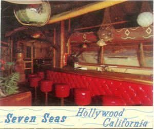Detail of a postcard showing the bar at Bob Brooks Seven Seas in Los Angeles