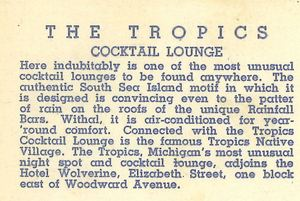 Postcard description of The Tropics in Detroit