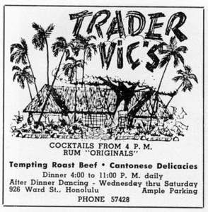 Paradise of the Pacific Magazine Advertisement from Trader Vic's in Honolulu