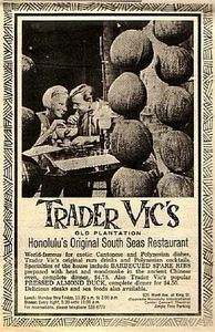 Newspaper ad from Trader Vic's in Honolulu