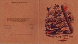 Souvenir menu from Trader Vic's in Honolulu