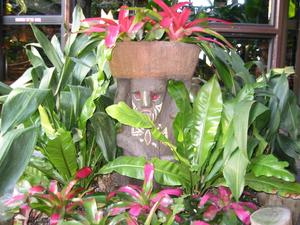 Tiki planter at the entrance at Disney's Polynesian Resort in Orlando