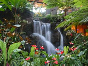 Water feature in the lobby at Disney's Polynesian Resort in Orlando