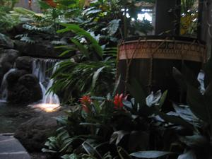 Water feature and drum in lobby at Disney's Polynesian Resort in Orlando