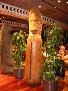 Large tiki at 'Ohana restaurant at Disney's Polynesian Resort in Orlando