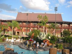 One of the hotel buildings near the pool at Disney's Polynesian Resort in Orlando