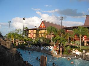 Hotel buildings near the pool at Disney's Polynesian Resort in Orlando