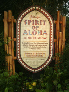 Sign for Spirit of Aloha Dinner Show at Disney's Polynesian Resort in Orlando
