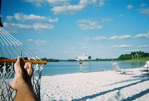 The beach along the Seven Seas Lagoon at Disney's Polynesian Resort in Orlando