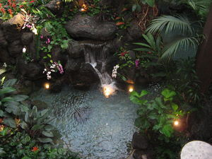 Waterfall in the lobby at Disney's Polynesian Resort in Orlando