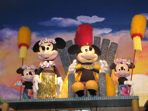 Polynesian Mickey and Minnie display in the Boutiki store at Disney's Polynesian Resort in Orlando