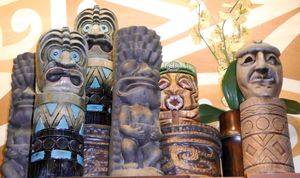 A cluster of tikis at Disney's Polynesian Resort in Orlando