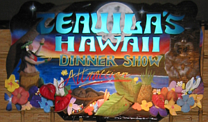 Sign for Teauila's Hawaii Dinner Show at the Green Turtle Restaurant in Daytona Beach