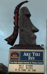 Sign for Aku Tiki Inn in Daytona Beach
