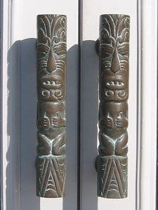 Tiki door handles at Traders Restaurant in Daytona Beach