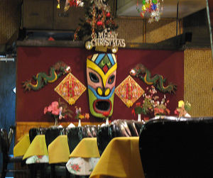 Tiki and leftover Christmas decor at Chan's Dragon Inn in Ridgefield