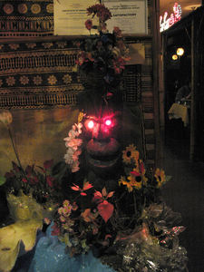 Mysterious fountain tiki at the entrance to Chan's Dragon Inn in Ridgefield
