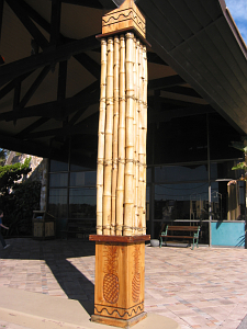 Support post of porte cochere at Hawaiian Inn in Daytona Beach