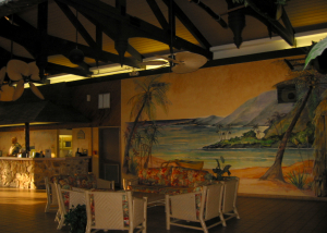 The lobby at Hawaiian Inn in Da