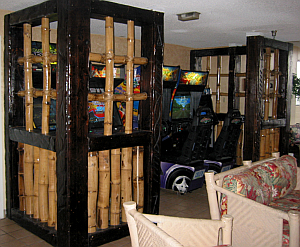 Bamboo-fied video game area at Hawaiian Inn in Daytona Beach