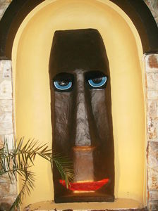 Moai facing the front parking lot at Hawaiian Inn in Daytona Beach