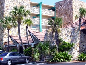 A-frame entryways at Hawaiian Inn in Daytona Beach
