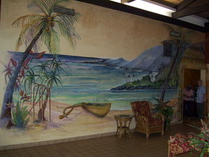 Outrigger mural in the lobby at Hawaiian Inn in Daytona Beach