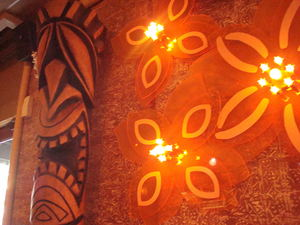Bosko tiki, with flower lights, at Mister Tiki's Mai Tai Lounge in San Diego