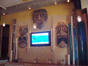 Back wall of Mister Tiki's Mai Tai Lounge in San Diego