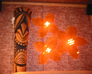 Tiki and flower lights at Mister Tiki's Mai Tai Lounge
