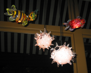 "Glass ""pufferfish"" lamps at Mister Tiki's"