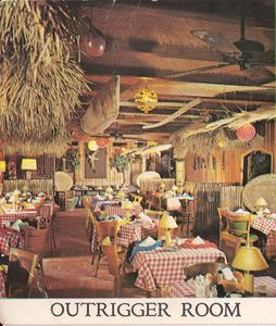 Outrigger Room, detail from a large postcard from Langerman's Luau in Narberth