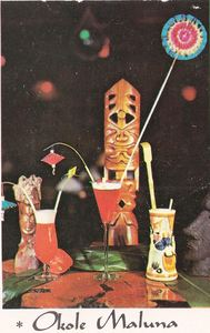 Drink photo, detail from a large postcard from Langerman's Luau in Narberth