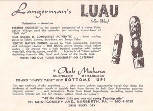 Detail from the back of a large postcard from Langerman's Luau in Narberth