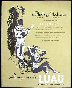 Cover of a drink menu from Langerman's Luau in Narberth