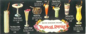 Drink menu from Hilton Hawaiian Village in Waikiki