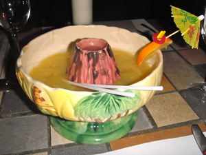 """Flamme Tahitienne"" in a volcano bowl at Restaurant Aloha in St-J�r�me"