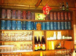 Souvenir tiki mugs at Restaurant Aloha in St-J�r�me