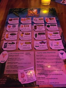 Drink menu at H�tel-Motel Coconut in Trois-Rivi�res
