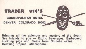 Back of postcard from Trader Vic's in Denver