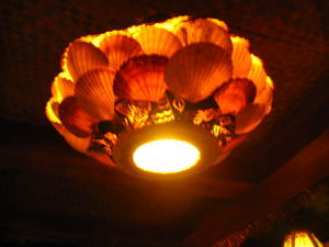 Shell lamp at Ho Kong in Woonsocket