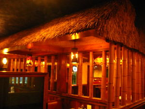 Thatched hut inside Ho Kong in Woonsocket