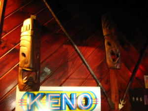 Tiki masks at Ho Kong in Woonsocket