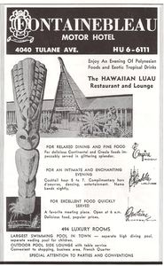 Ad from tourist brochure for Hawaiian Luau in New Orleans